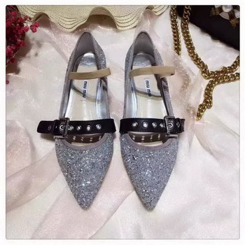 miu miu Leather Ballerina MM542 Silver