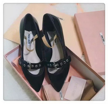 miu miu Leather Ballerina MM543 Black