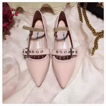 miu miu Leather Ballerina MM544 Apricot