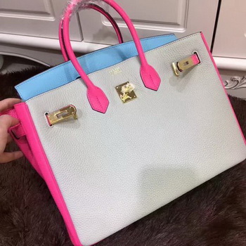 Hermes Birkin 35CM Tote Bag Original Leather HB35TK Grey&Blue&Rose