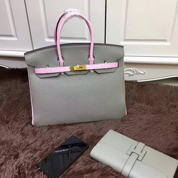 Hermes Birkin 35CM Tote Bag Original Leather HB35TK Grey&Pink