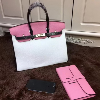 Hermes Birkin 35CM Tote Bag Original Leather HB35TK White&Black&Pink