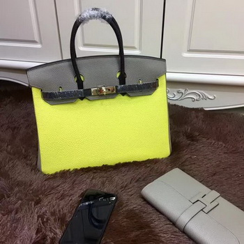 Hermes Birkin 35CM Tote Bag Original Leather HB35TK Yellow&Grey