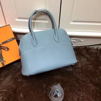 Hermes Bolide 31CM Calfskin Leather Tote Bag B3302 Light Blue