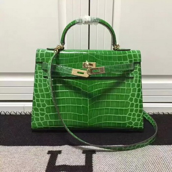 Hermes Kelly 28cm Shoulder Bag Croco Leather K28 Green