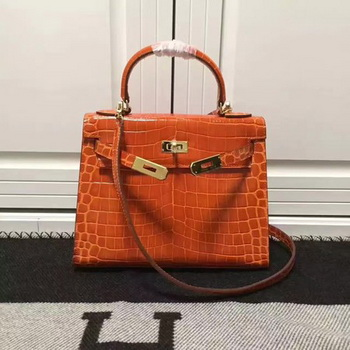 Hermes Kelly 28cm Shoulder Bag Croco Leather K28 Orange