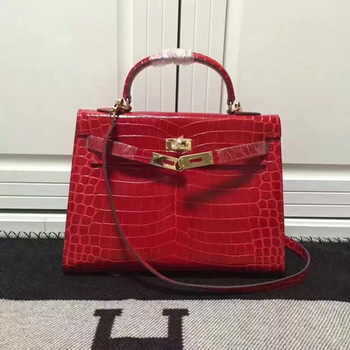 Hermes Kelly 28cm Shoulder Bag Croco Leather K28 Red