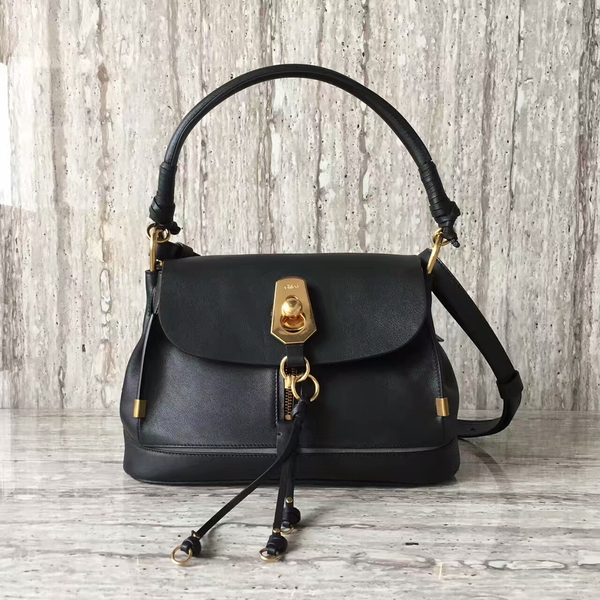 Chloe Calfskin Leather Top Handle Bag A03373 Black