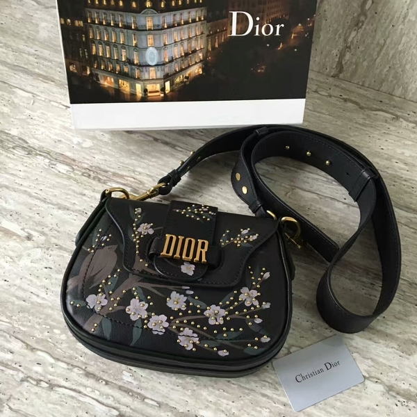 Dior Calfskin Leather Saddle Bag A05584 Black