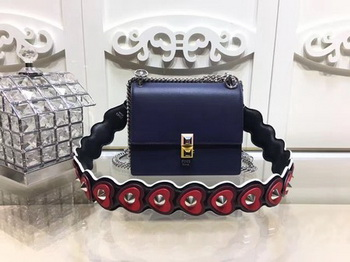Fendi KAN I SMALL Leather mini Bag FD3698 Blue