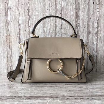 CHLOE Faye Top Handle Bag Calfskin Leather C03375 Apricot