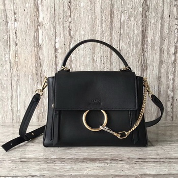 CHLOE Faye Top Handle Bag Calfskin Leather C03375 Black