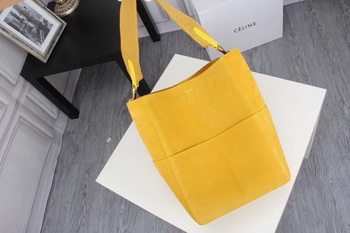 CELINE Sangle Seau Bag in Suede Leather C3371 Yellow