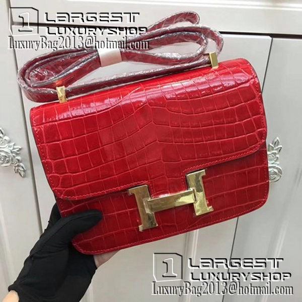 Hermes Constance Bag Croco Leather H9978C Red