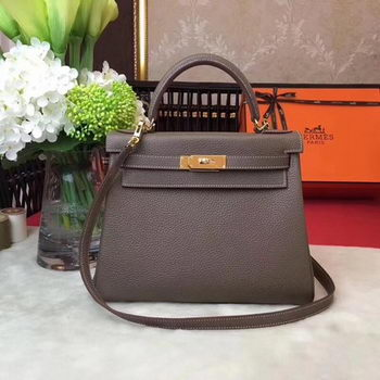 Hermes Kelly 32cm Shoulder Bag TOGO Leather KY32 Grey