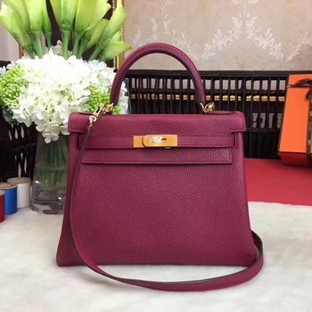 Hermes Kelly 32cm Shoulder Bag TOGO Leather KY32 Wine