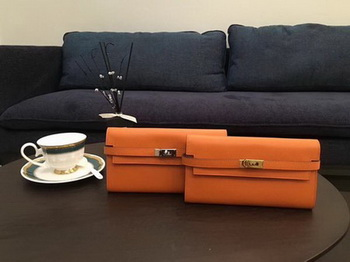 Hermes Kelly Epsom Leather Wallet H4086 Orange