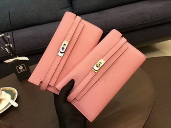 Hermes Kelly Epsom Leather Wallet H4086 Pink
