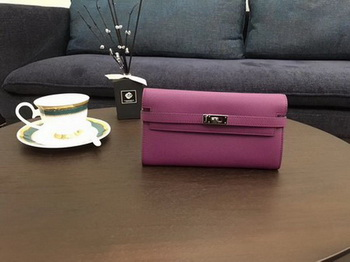 Hermes Kelly Epsom Leather Wallet H4086 Rose