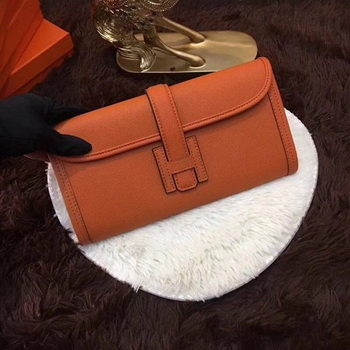 Hermes Togo Leather Clutch H88017 Orange