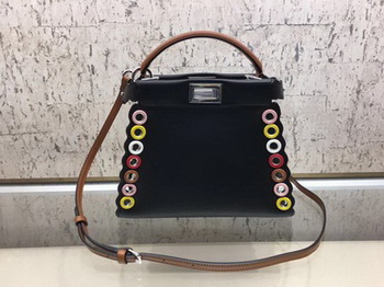 Fendi Peekaboo Mini Bag Calfskin Leather 8BN244 Black