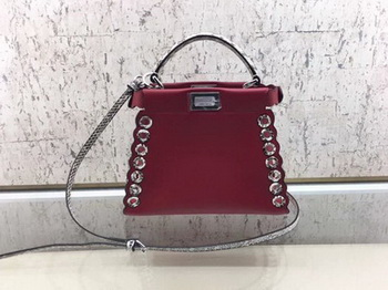 Fendi Peekaboo Mini Bag Calfskin Leather 8BN244 Red