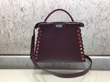 Fendi Peekaboo Small Bag Calfskin Leather 8BN245 Wine