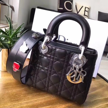 Dior Lucky Badges Original Sheepskin Leather Bag 88034 Black