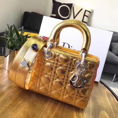 Dior Lucky Badges Original Sheepskin Leather Bag 88034 Gold