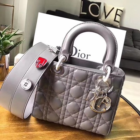 Dior Lucky Badges Original Sheepskin Leather Bag 88034 Grey