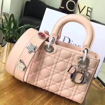 Dior Lucky Badges Original Sheepskin Leather Bag 88034 Pink