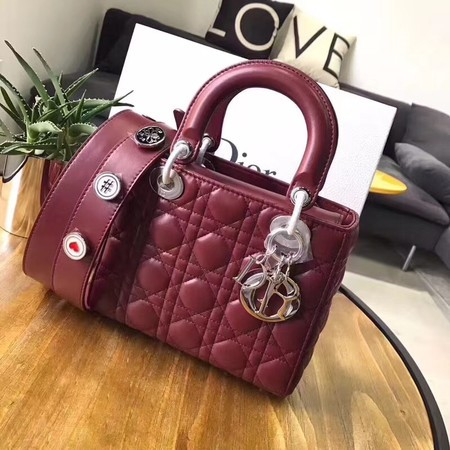Dior Lucky Badges Original Sheepskin Leather Bag 88034 Red