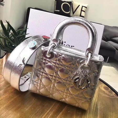 Dior Lucky Badges Original Sheepskin Leather Bag 88034 Silver