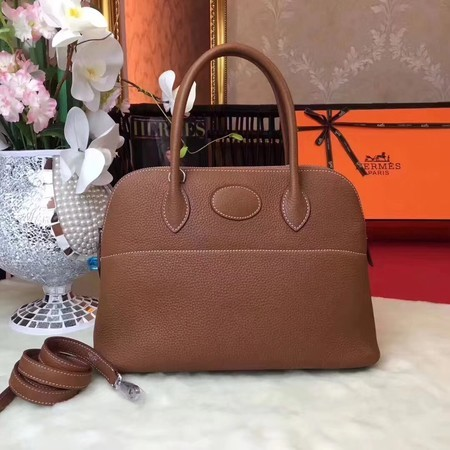 Hermes Bolide Original Leather Tote Bag B1007 Coffee