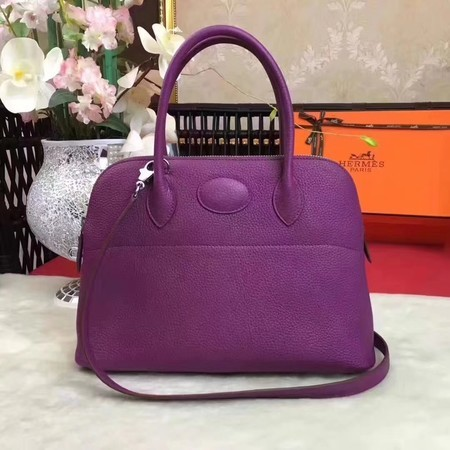 Hermes Bolide Original Leather Tote Bag B1007 Purple