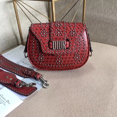 Dior D-Fence Saddle Bag in Studded Calfskin M6501 Red