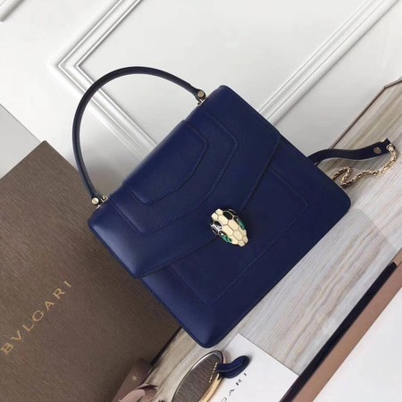BVLGARI Original Calfskin Leather Tote Bag 3781 Blue