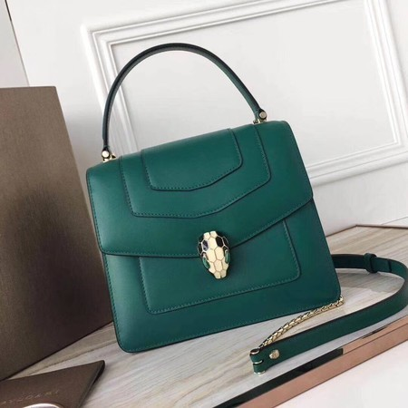 BVLGARI Original Calfskin Leather Tote Bag 3781 Green
