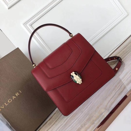 BVLGARI Original Calfskin Leather Tote Bag 3781 Red
