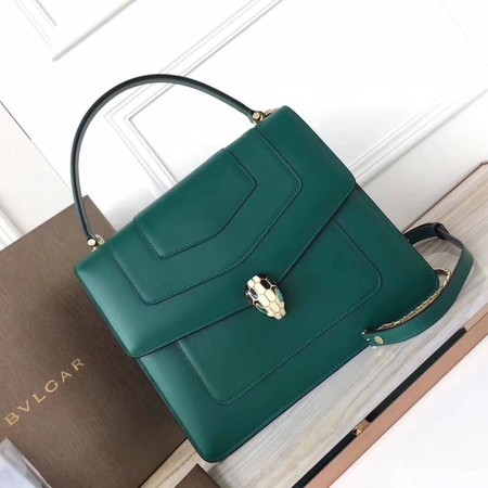 BVLGARI Original Calfskin Leather Tote Bag 3782 Green