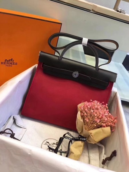 Hermes Herbag 31CM Original Canvas Leather & Calfskin 45987 Black&Red
