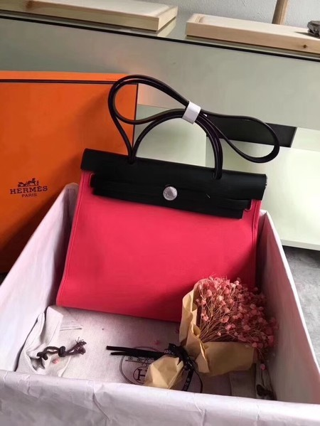 Hermes Herbag 31CM Original Canvas Leather & Calfskin 45987 Red&Black