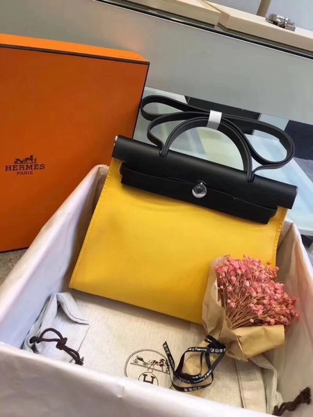 Hermes Herbag 31CM Original Canvas Leather & Calfskin 45987 Yellow&Black