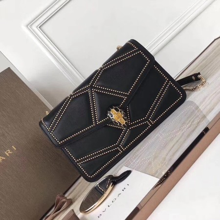 BVLGARI Quilted Stardust Original Calfskin Leather 3786 Black