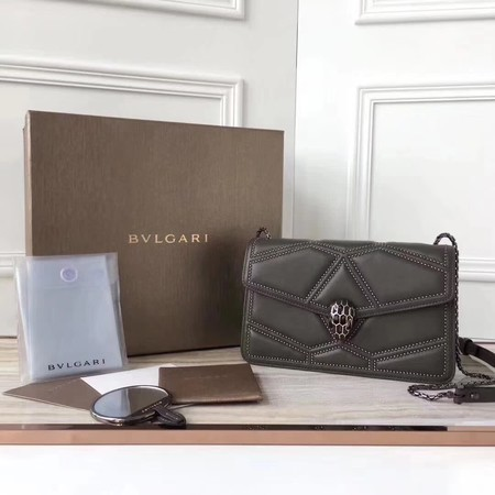 BVLGARI Quilted Stardust Original Calfskin Leather 3786 Grey
