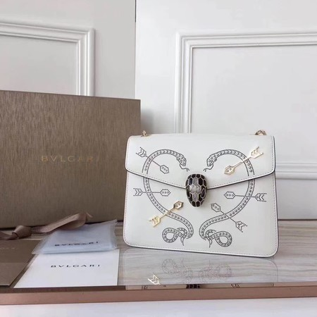 BVLGARI Serpenti Forever Calfskin Leather Shoulder Bag 3788 Offwhite