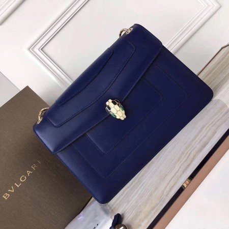 BVLGARI Serpenti Forever Original Calfskin Leather Shoulder Bag 3780 Blue