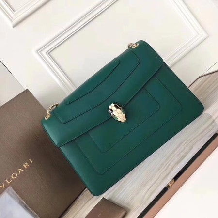 BVLGARI Serpenti Forever Original Calfskin Leather Shoulder Bag 3780 Green
