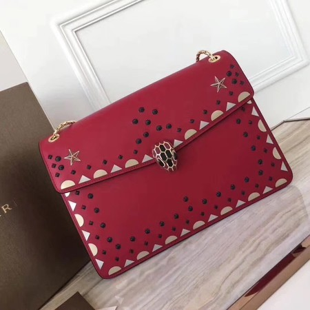 BVLGARI Serpenti Forever Original Calfskin Leather Shoulder Bag 3783 Red
