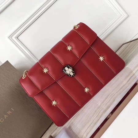 BVLGARI Serpenti Forever Original Calfskin Leather Shoulder Bag 3788 Red